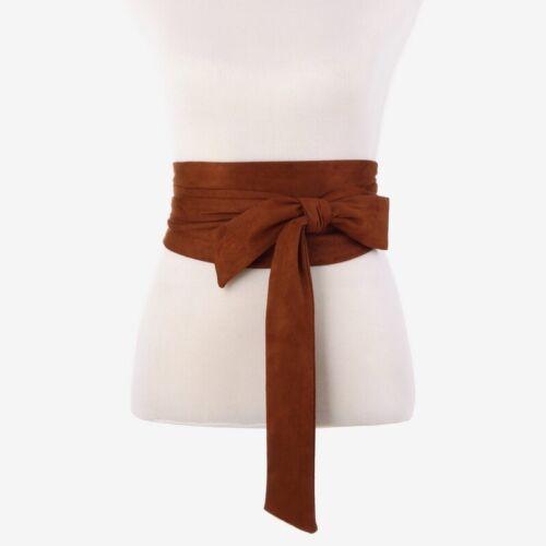 Women Japanese Faux Suede Belt Corset Wide Kimono Vintage Obi Bows Coat Dress