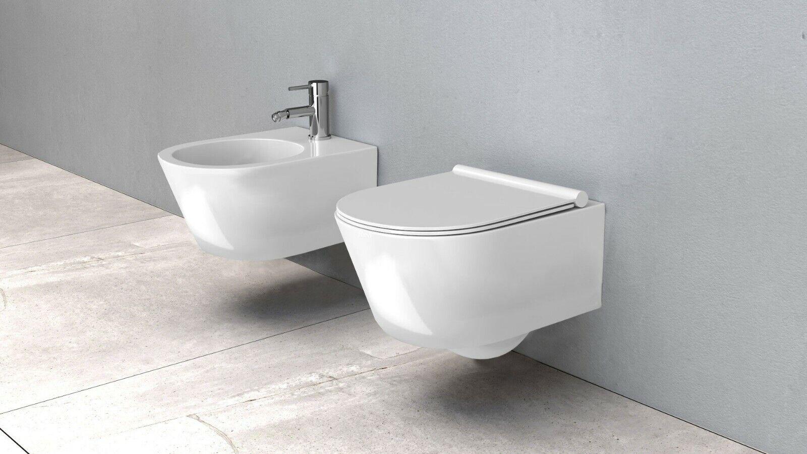 Céramique Toilette Bidet Mural Fixation WC Soft Rea  Porter sans monture
