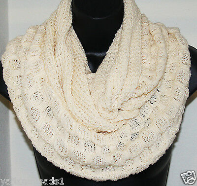 Fall Winter Women fashion Cable  Infinity Cowl scarf Loop scarf  Cream
