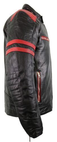 Retro Motorrad Lederjacke mit Protektoren Schwarz mit roten Applicationnen