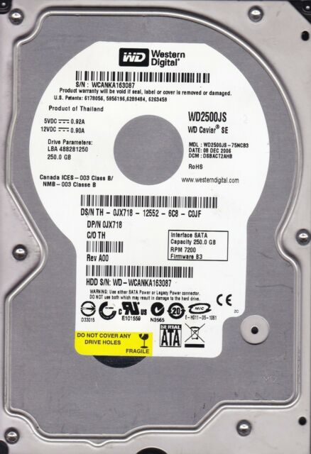 WD2500JS-75NCB3 dcm: DSBACT2AHB s/n: WCA Western Digital 250Gb SATA B2-2
