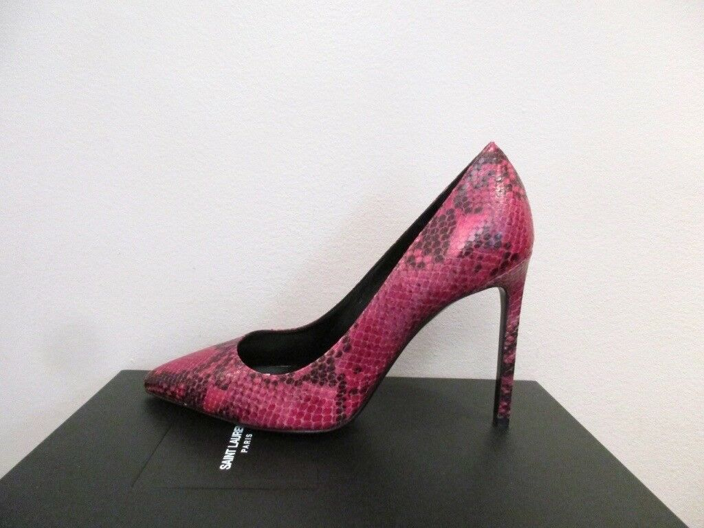 YSL Yves Saint Laurent Paris 105 Pressed Python Fushia Pumps Shoes 37 7