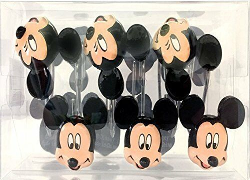 Disney Mickey Mouse 12-Piece Bath Shower Curtain Hooks Polyresin Metal Black Tan