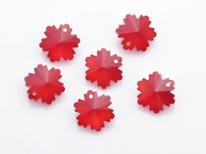 10pcs-14mm-Snowflake-Flower-Loose-Faceted-Crystal-Glass-Pendant-Beads-Craft-Red
