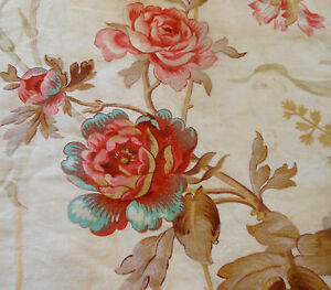 Antique-Shabby-French-Pink-Aqua-Poppy-Floral-Cotton-fabric-Pink-Red-Aqua-Taupe