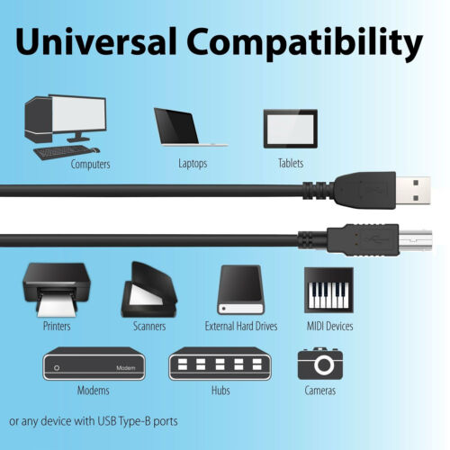 6ft USB Cable PC Cord for TASCAM US-2000 US-1800 US-1641 Audio MIDI Interface