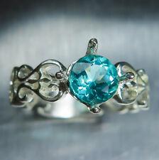 1.10cts Natural Paraiba blue apatite round cut 925 silver engagement ring
