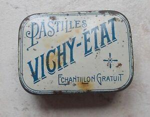 Ancienne-boite-metal-Pastilles-VICHY-ETAT-Echantillon-bonbons-gorge-pharmacie