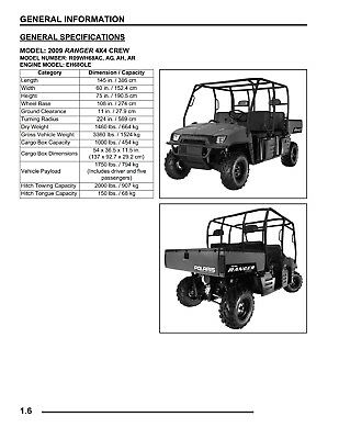 Service Manual for 2009 Polaris Ranger 700 4x4 Crew