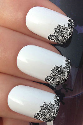 NAIL ART SET #656 x12 FRENCH MANICURE TIPS LACE WATER TRANSFER DECALS STICKERS