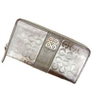 Purse M1053 Silver Signature Long Coach Woman Authentic Wallet Brukt CZqR5