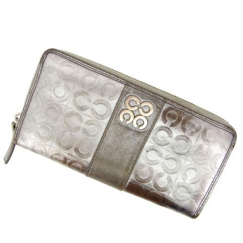 Wallet Purse Woman Authentic Brukt Long Coach M1053 Signature Silver OwdxBRq5