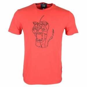 CAVALLI-CLASS-Ananke-cotone-stretch-logo-in-Gomma-Rosso-T-shirt