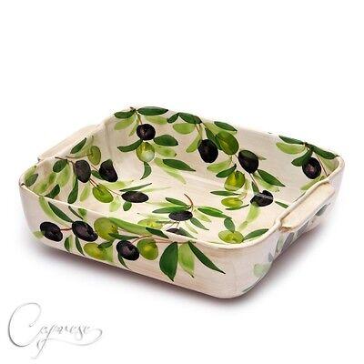 Bassano Ceramica Sformato Forme Casseruola Olive Motivo 2d 24 Cm Dall'italia Nuovo-