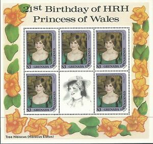 Grenada-Gr-1982-Royalty-Princess-Diana-21st-Birthday-3-Sheets-Sc-486-7-9-MNH