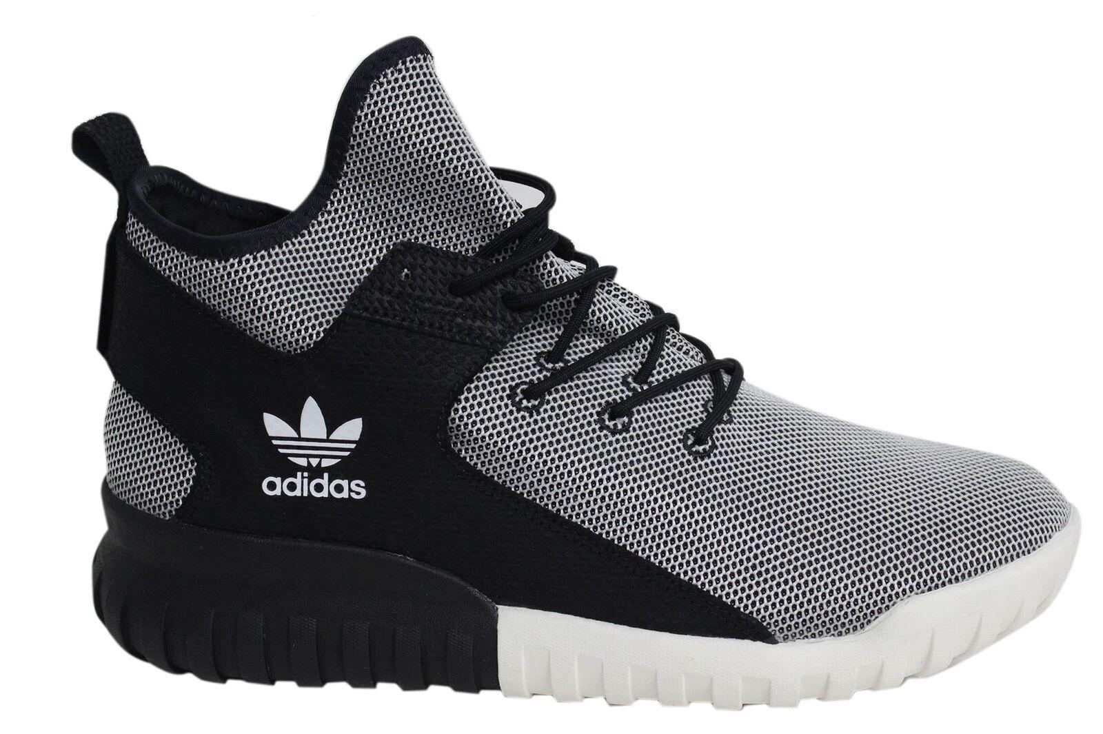 Adidas Tubular X Lace Up Black White Mens Textile Hi Trainers BA7782 D49