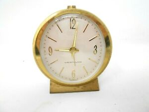 Vintage Brass Westclox Small Wind up Alarm Clock MADE IN GERMANY