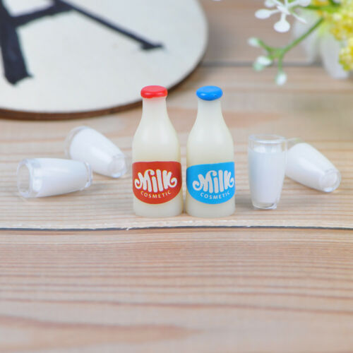 6Pcs 1:12 Dollhouse miniature milk bottle milk cup for dolls house kitchen FU