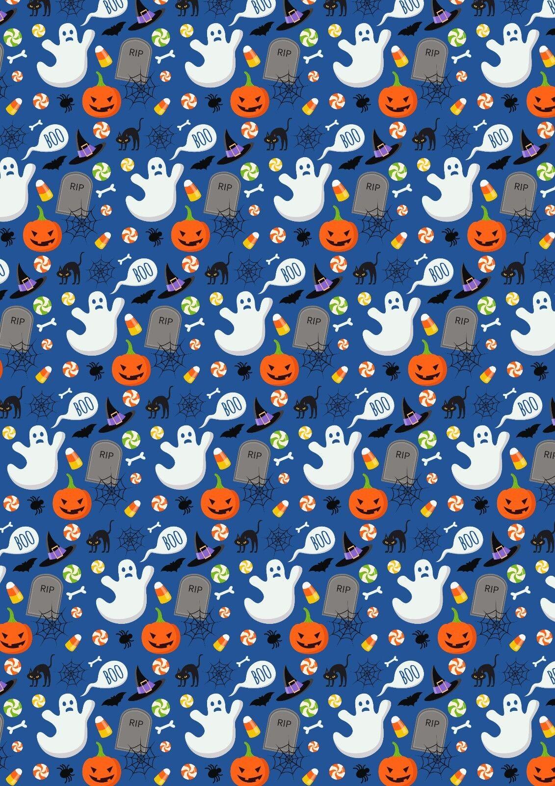 Printed Bow Fabric A4 Canvas Halloween Pumpkin Ghost HW10 Make glitter hair bows