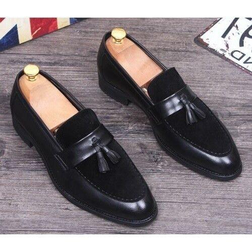 Zapatos De Vestir Zapatos de cuero para hombre hechos a mano, Hombres Formal Sin Cordones Cuero Borlas