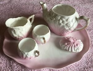 Antique mini paste porcelain tray teapot jug 2 cup set in whitepink c1900 - <span itemprop=availableAtOrFrom>Budleigh Salterton, United Kingdom</span> - Legitimate reason for return request must be given. We do not offer a return service if item description has not been read properly or the customer changes their mind after pay - Budleigh Salterton, United Kingdom