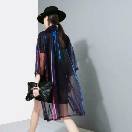 Womens Holographic Laser Jacket Iridescent Transparent Shirts Tops Outwear MOON
