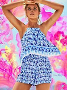 fa9bfcce9915 NWT LILLY PULITZER CELYN ROMPER BOMBER BLUE GET TRUNKY ENGINEERED 00 ...