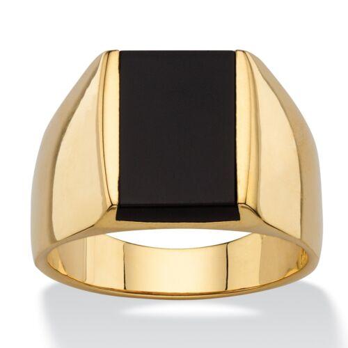 14K GOLD EMERALD CUT BLACK  ONYX MENS GP RING SIZE 8 9 10 11 12 13