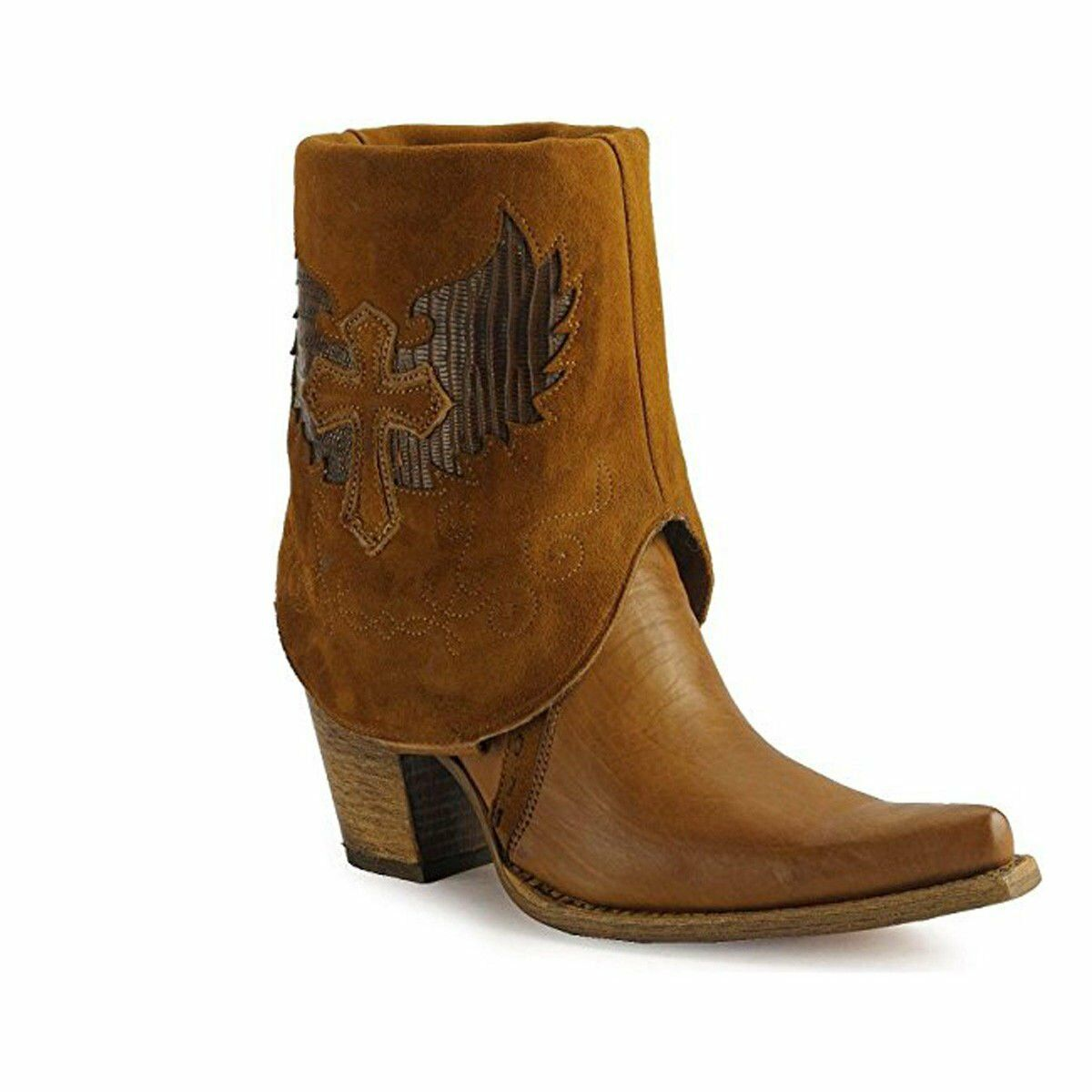 CORRAL Women's Cross Lizard Cuffed Pointed Toe Cowgirl Boots C2213