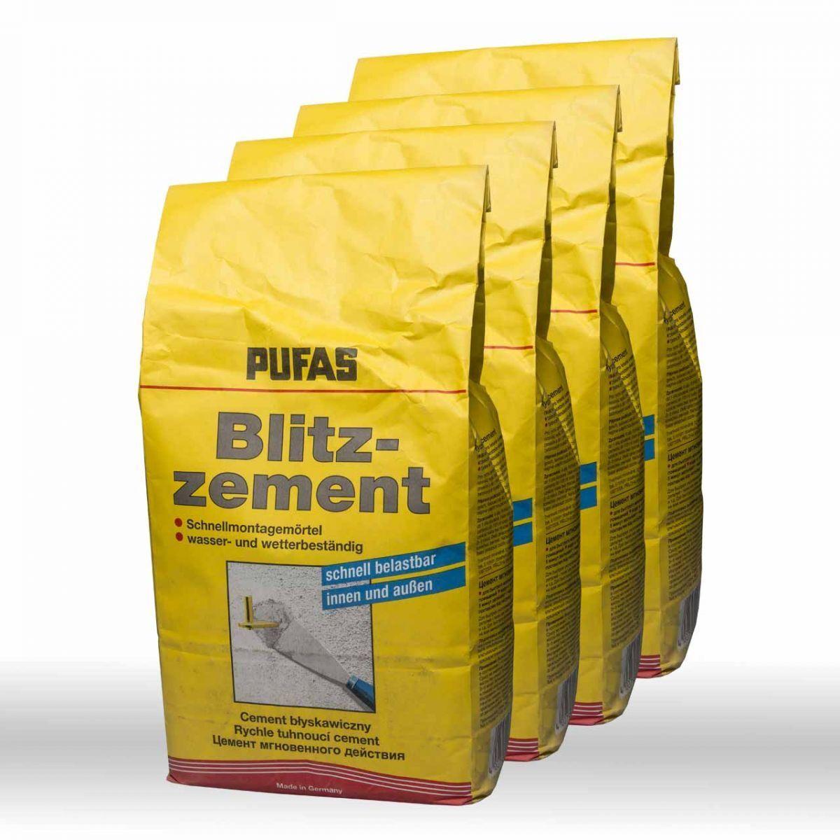4 x 5kg Pufas Blitzzement (20kg) - Spezialzement Schnellzement Zement