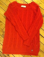 Abercrombie Kids girls red cable knit crew neck sweater size M
