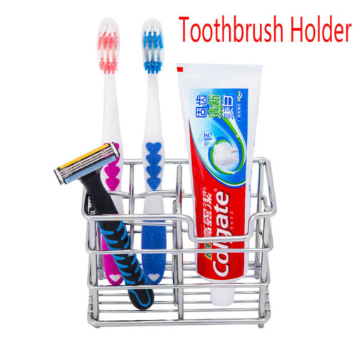 New Stainless Steel Grid Toothbrush Holder Toothpaste Razor Stand Storage Rack
