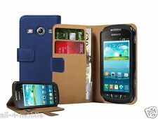 BLUE Wallet Leather Case cover for Samsung Galaxy Xcover 2 GT-S7710 / GT-S7710L