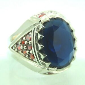 Turkish Handmade Jewelry 925 Sterling Silver Sapphire Stone Men/'s Ring Sz 11