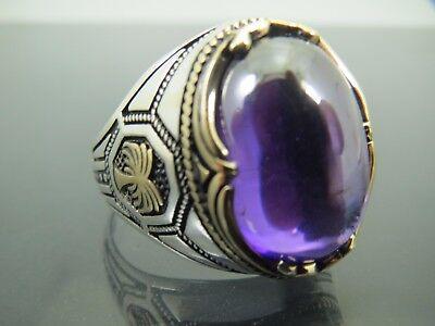 Turkish Handmade Jewelry 925 Sterling Silver Amethyst Stone Men/'s Ring Sz 10