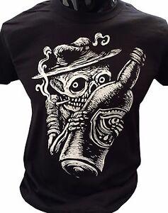 Smoking-Skeleton-T-Shirt-Goth-rock-punk-horror-skater-skull-alcohol-grunge-drawn