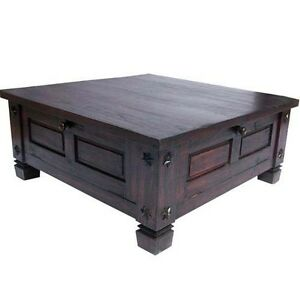 About Russet Solid Wood Rustic Square Storage Trunk Coffee Table Chest
