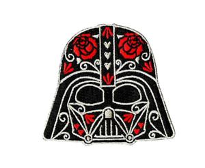 Darth-Vader-CALAVERA-IRON-ON-PATCH-3-034-Embroidered-Star-Wars-Flowers-Sugar-Skull