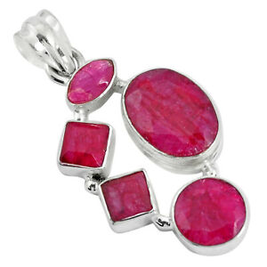 14-42cts-Natural-Red-Ruby-925-Sterling-Silver-Pendant-Jewelry-P34008