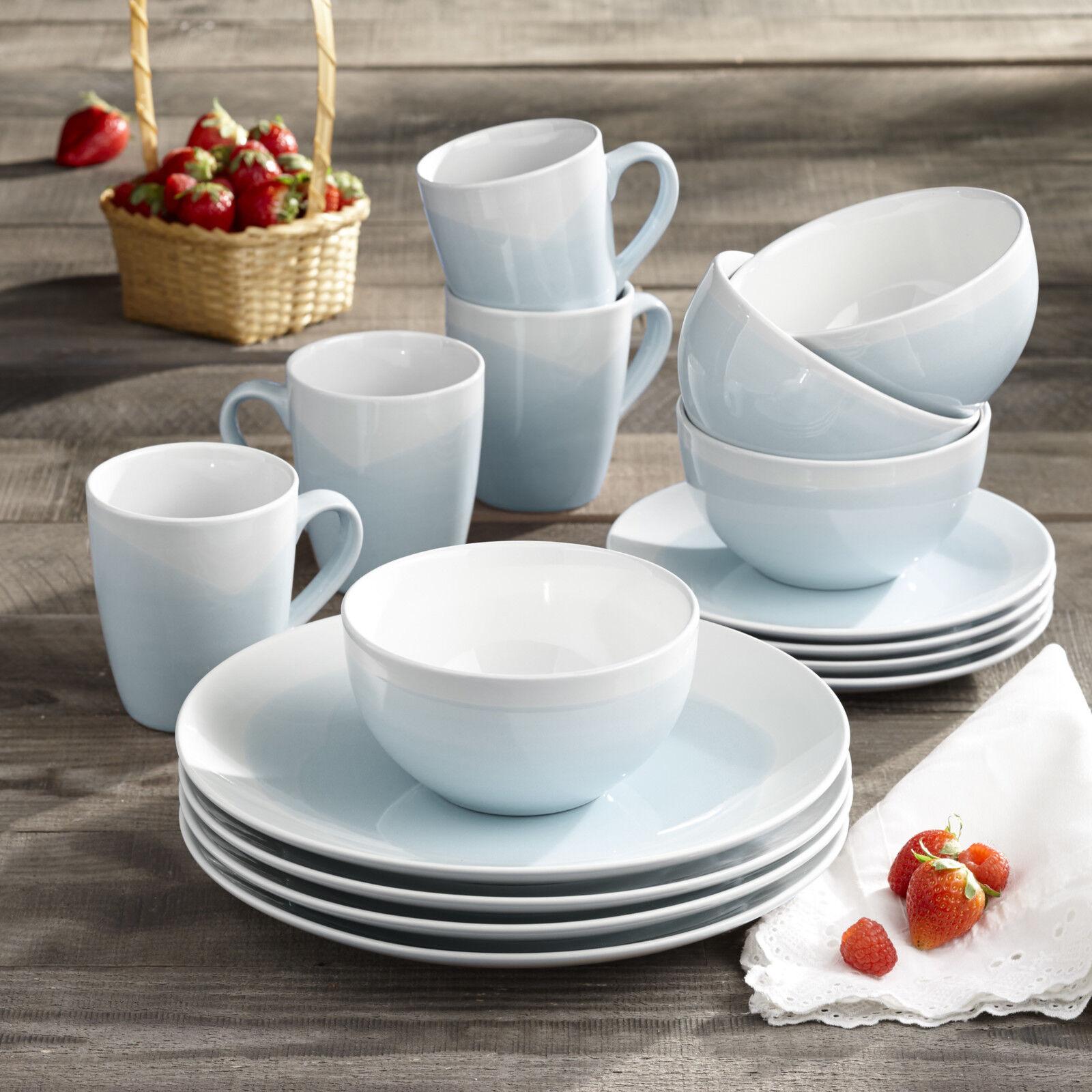 Bleu Brushstroke Dinnerware Set 16 Piece DESSERT 4 Place Vaisselle Bols Tasses Assiettes