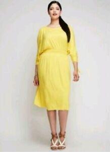 LANE-BRYANT-Plus-Size-18-20-2X-Yellow-COLD-SHOULDER-Rayon-Day-Dress