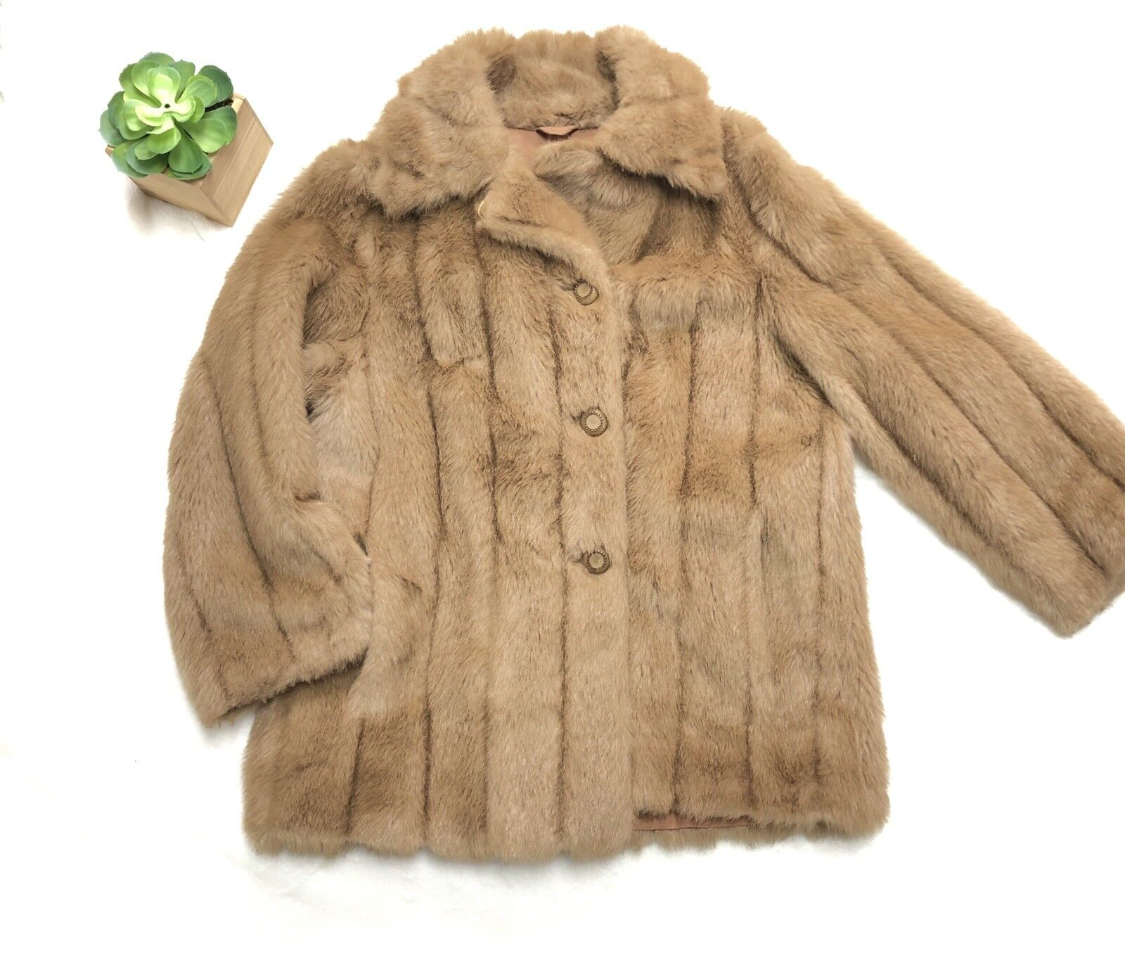 31df4344 Debenhams 14 Fur Coat Button Down Lines Tan Brown nrrgqn3230-Coats ...