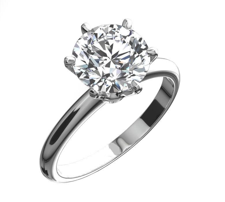 3 Ct Round Cut Diamond Solitaire Engagement Promise Ring in Solid .950 Platinum