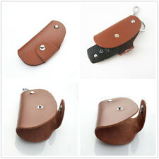 Genuine Leather Remote Smart Key Fob Protective Holder For Universal Key Brown