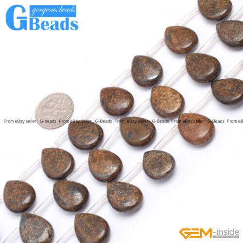 """Jaspe piedras preciosas naturales Bronzite Top-perforado Perlas de goteo para la fabricación de joyería 15/"""""""