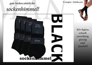 12 Paar Herren Sneaker Socken schwarz - gekämmte Baumwolle + Elasthan 40/45
