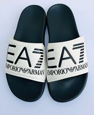 Emporio Armani Ea7 White & Navy Sliders Sandals Shoes Sizes Uk 6 - 11 Bnib