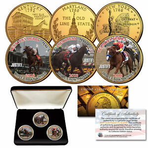 JUSTIFY-Triple-Crown-Horse-KY-MD-NY-Quarters-24K-Gold-Clad-3-Coin-Set-w-BOX