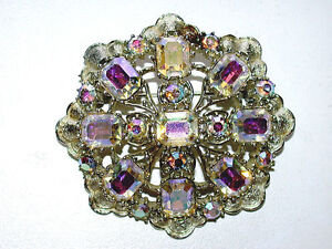 Gorgeous-CORO-Designer-Signed-Asscher-Shaped-Aurora-Borealis-Crystals-Pin-Brooch