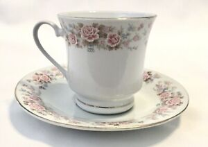 Vintage Tea Cup and saucer set Pink Roses Gold Trim Made In China Just Pretty